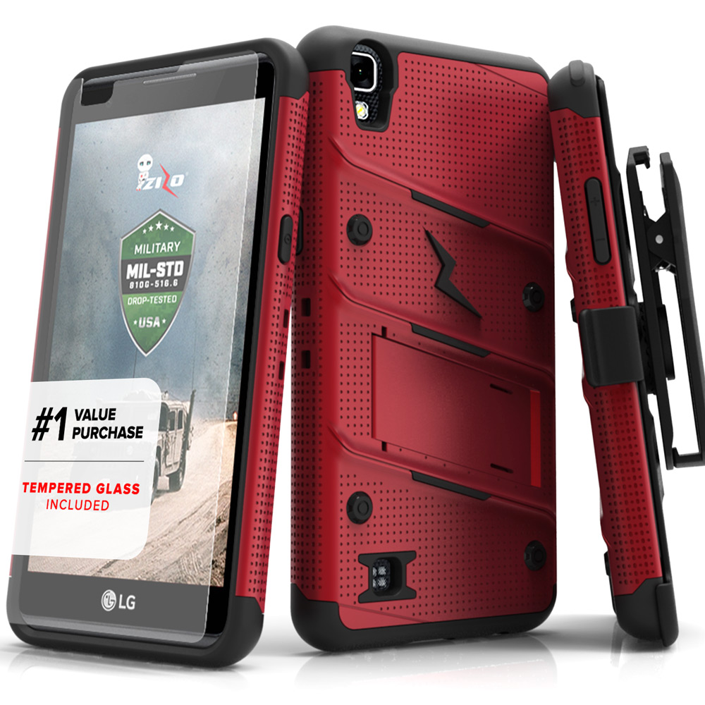 LG X Power Case - [BOLT] Heavy Duty Cover w/ Kickstand, Holster, Tempered Glass Screen Protector & Lanyard [Red/ Black]