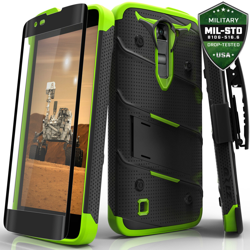 Made for [LG K7/ LG Tribute 5]-Bolt Series: Heavy Duty Cover w/ Kickstand Holster Tempered Glass Screen Protector & Lanyard [Black/ Neon Green]