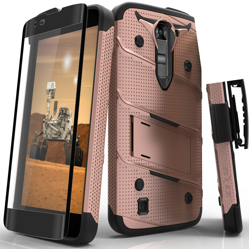 Made for [LG K7/ LG Tribute 5]-Bolt Series: Heavy Duty Cover w/ Kickstand Holster Tempered Glass Screen Protector & Lanyard [Rose Gold/ Black]