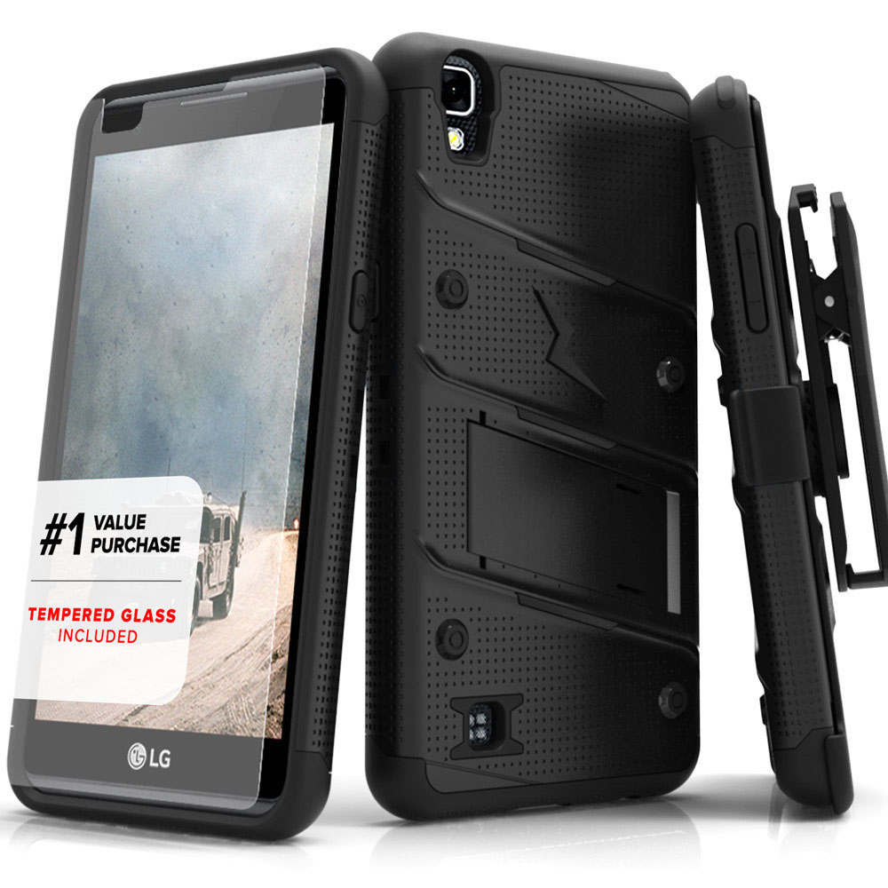 Made for [LG Tribute HD]-Bolt Series: Heavy Duty Cover w/ Kickstand Holster Tempered Glass Screen Protector & Lanyard [Black]