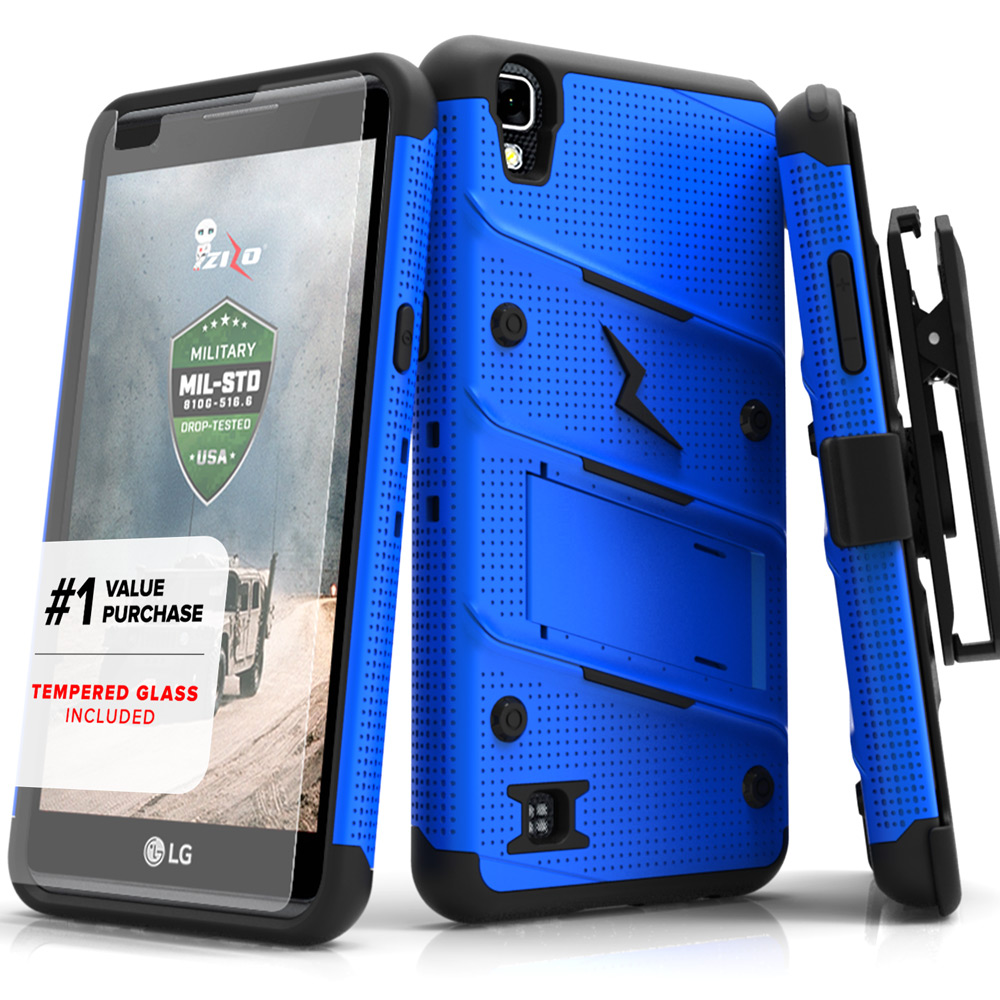 Made for [LG Tribute HD]-Bolt Series: Heavy Duty Cover w/ Kickstand Holster Tempered Glass Screen Protector & Lanyard [Blue/ Black]