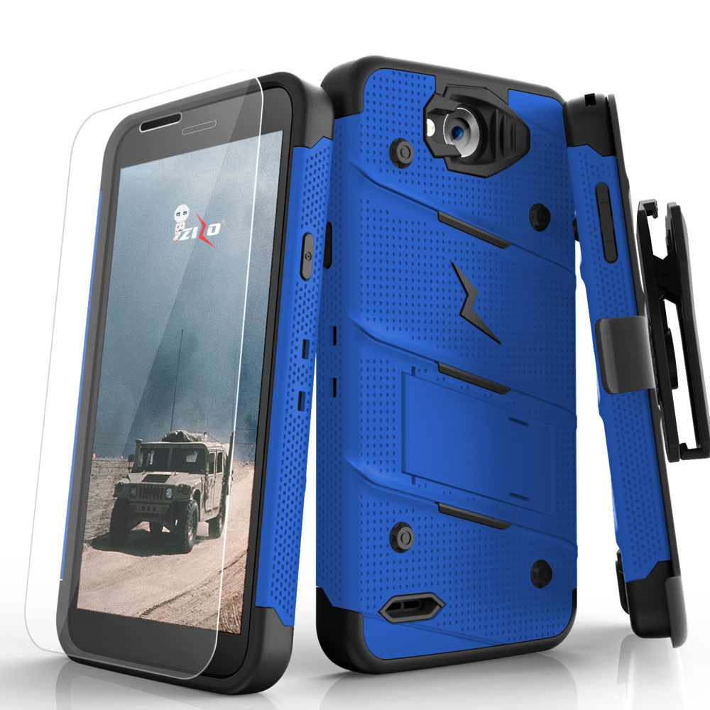Made for [LG X Power 2/ X Charge]-Bolt Series: Heavy Duty Cover w/ Kickstand Holster Tempered Glass Screen Protector & Lanyard [Blue/ Black]