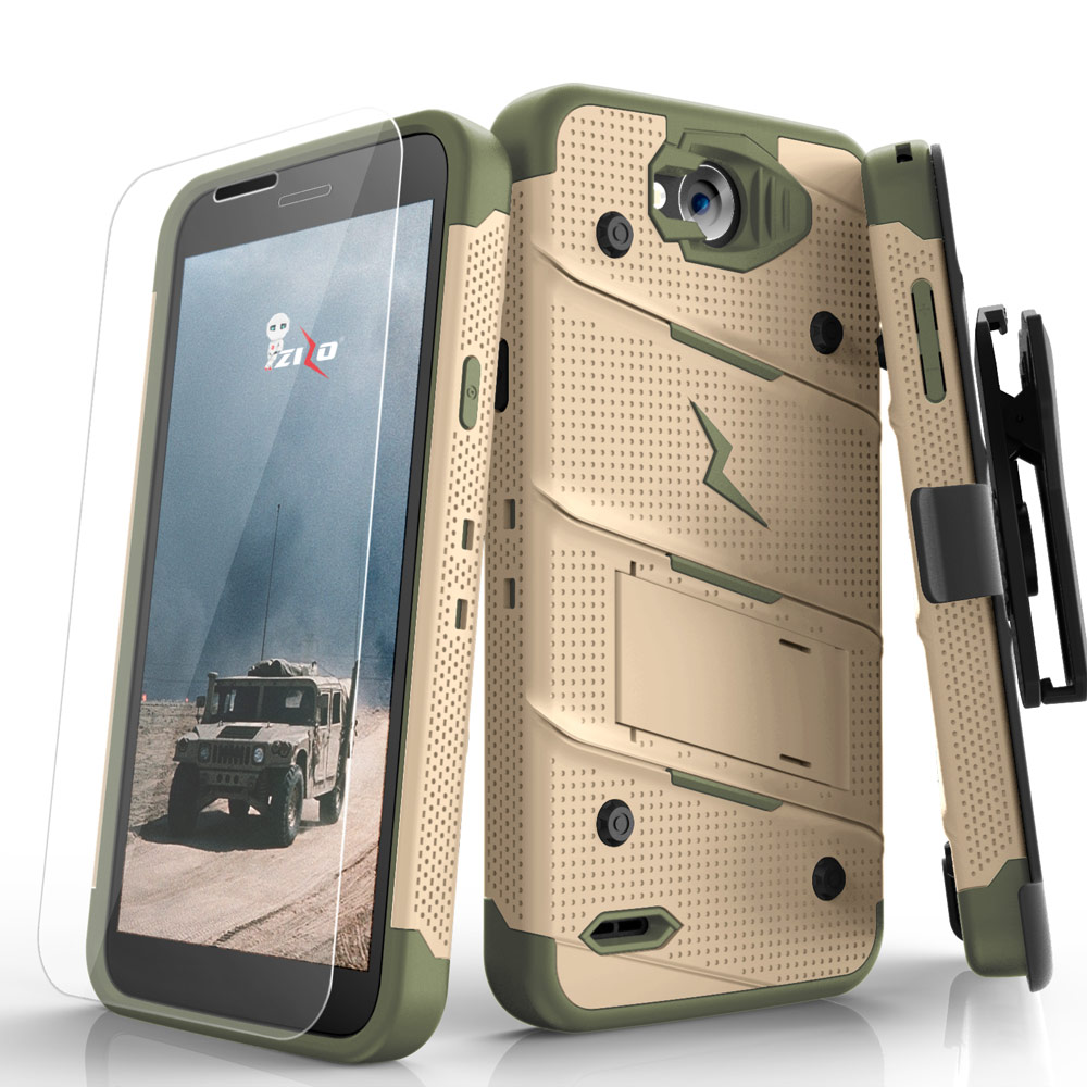 LG X Power 2/ X Charge Case - [BOLT] Heavy Duty Cover w/ Kickstand, Holster, Tempered Glass Screen Protector & Lanyard [Desert Tan/Camo Green]