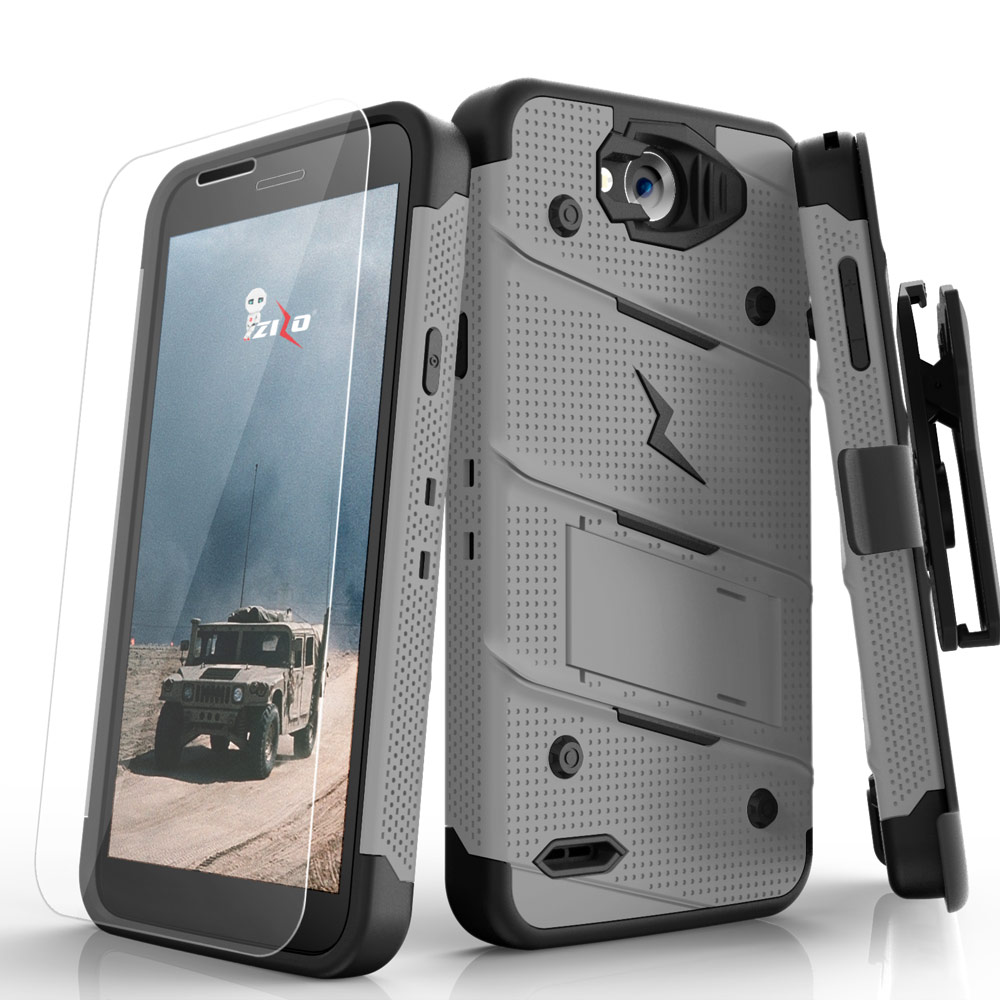 Made for [LG X Power 2/ X Charge]-Bolt Series: Heavy Duty Cover w/ Kickstand Holster Tempered Glass Screen Protector & Lanyard [Gray/ Black]
