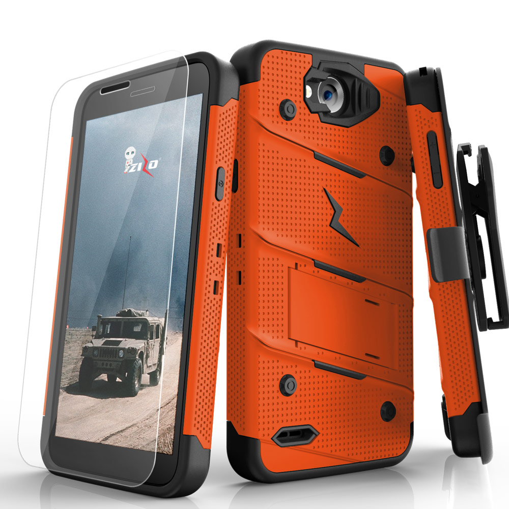 Made for [LG X Power 2/ X Charge]-Bolt Series: Heavy Duty Cover w/ Kickstand Holster Tempered Glass Screen Protector & Lanyard [Orange/ Black]