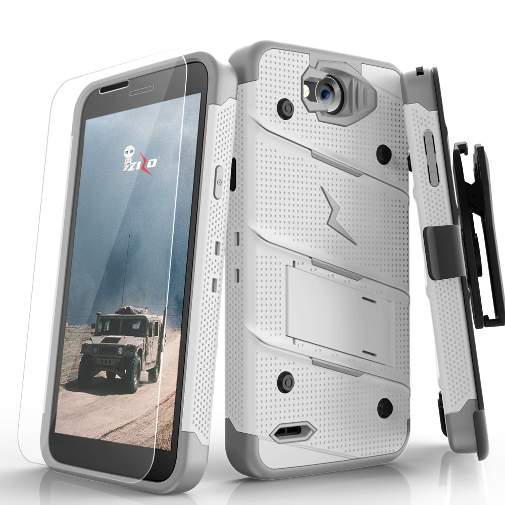 Made for [LG X Power 2/ X Charge]-Bolt Series: Heavy Duty Cover w/ Kickstand Holster Tempered Glass Screen Protector & Lanyard [White/ Gray]