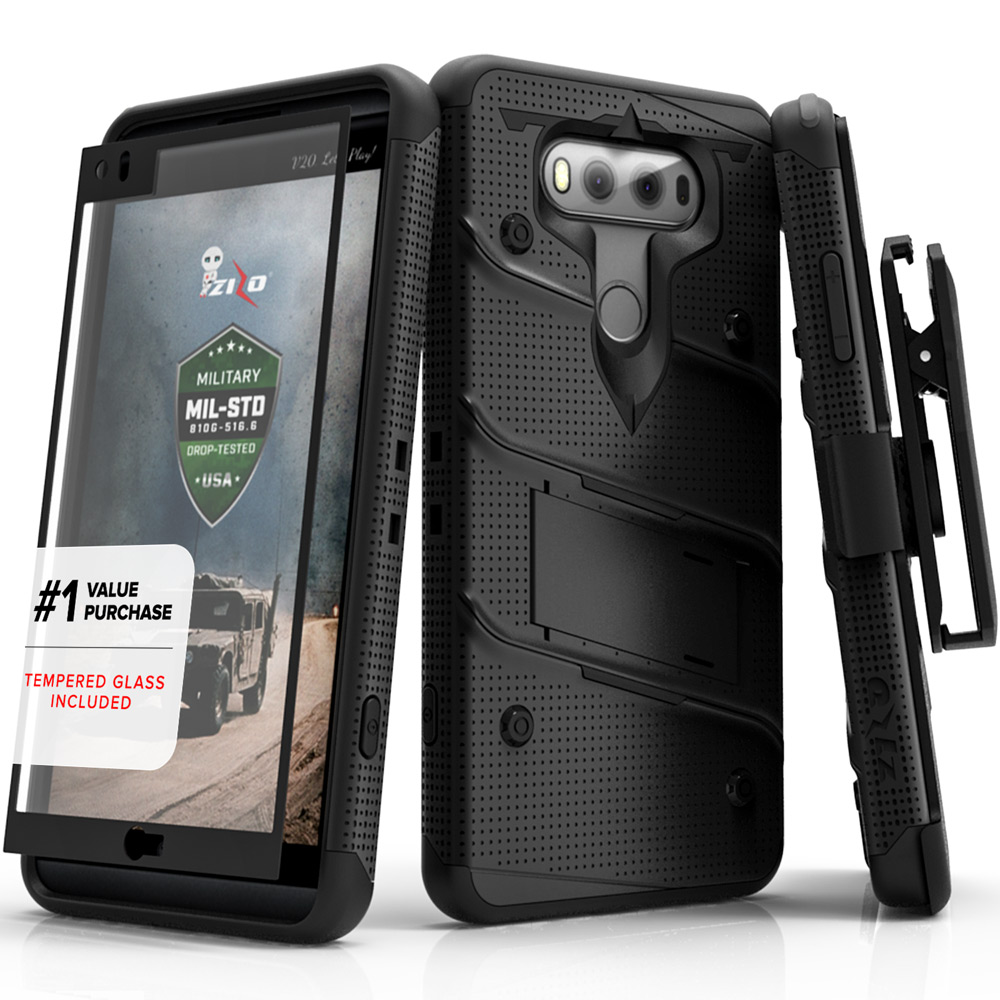 Made for [LG V20]-Bolt Series: Heavy Duty Cover w/ Kickstand Holster Tempered Glass Screen Protector & Lanyard [Black]