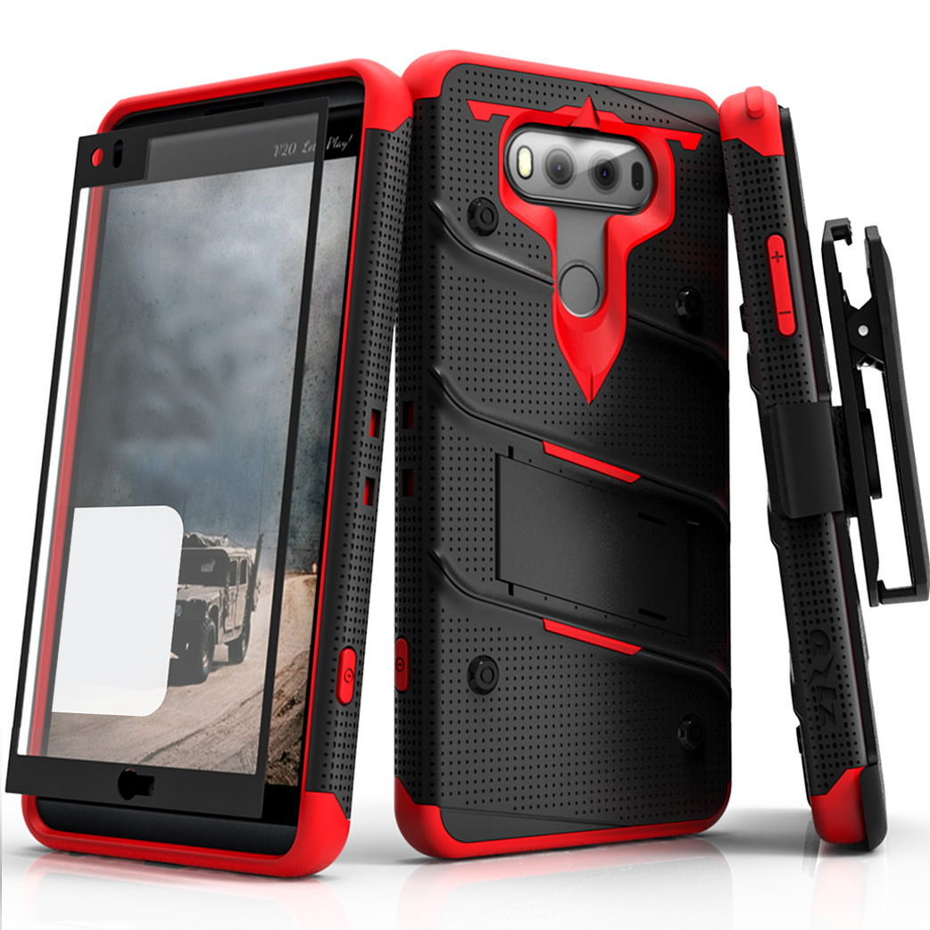 LG V20 Case - [BOLT] Heavy Duty Cover w/ Kickstand, Holster, Tempered Glass Screen Protector & Lanyard [Black/ Red]