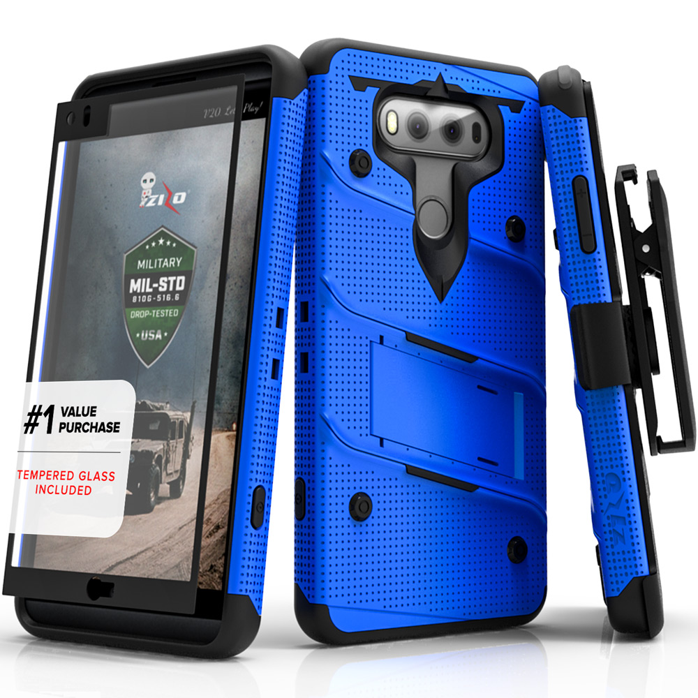 LG V20 Case - [BOLT] Heavy Duty Cover w/ Kickstand, Holster, Tempered Glass Screen Protector & Lanyard [Blue/ Black]