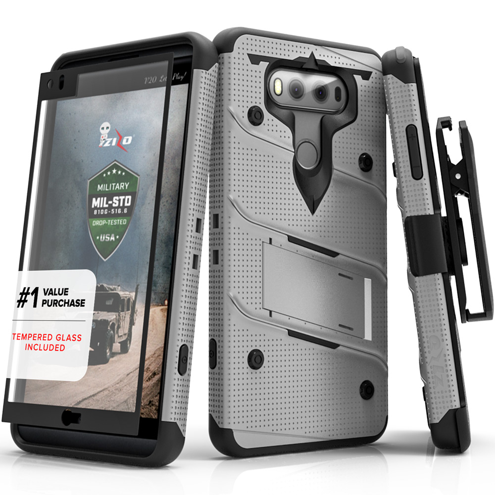 LG V20 Case - [BOLT] Heavy Duty Cover w/ Kickstand, Holster, Tempered Glass Screen Protector & Lanyard [Gray/ Black]