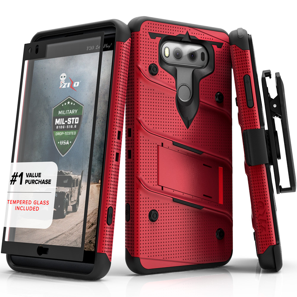 Made for [LG V20]-Bolt Series: Heavy Duty Cover w/ Kickstand Holster Tempered Glass Screen Protector & Lanyard [Red/ Black]