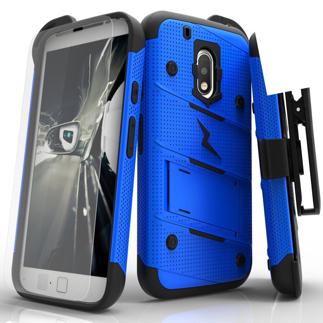 Made for [Motorola Moto G4 Play]-Bolt Series: Heavy Duty Cover w/ Kickstand Holster Tempered Glass Screen Protector & Lanyard [Blue]