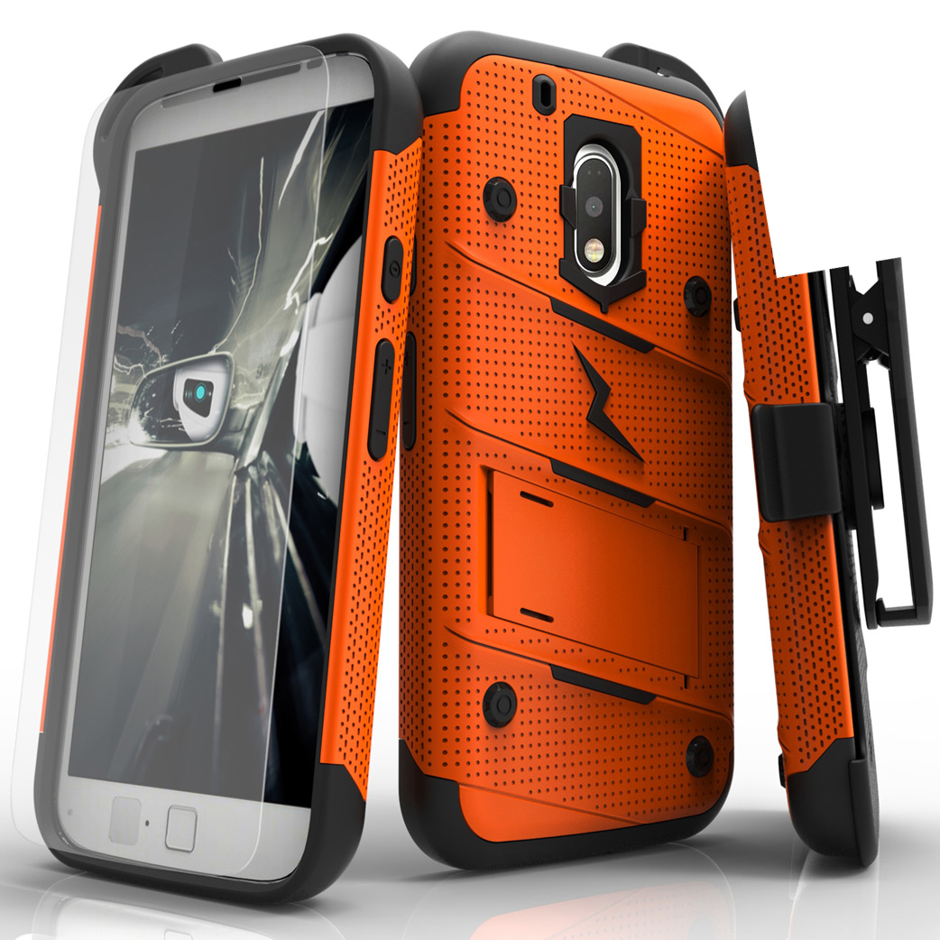 Made for [Motorola Moto G4 Play]-Bolt Series: Heavy Duty Cover w/ Kickstand Holster Tempered Glass Screen Protector & Lanyard [Orange]