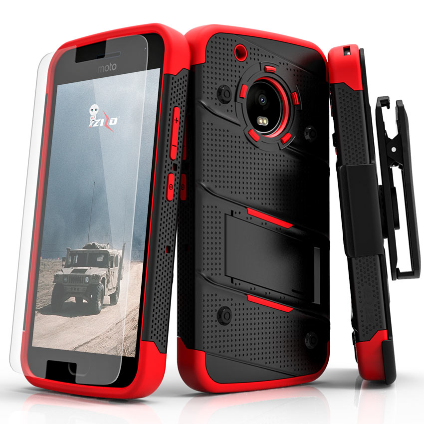 Made for [Motorola Moto G5 Plus]-Bolt Series: Heavy Duty Cover w/ Kickstand Holster Tempered Glass Screen Protector & Lanyard [Black/ Red]