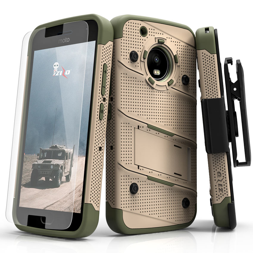 Made for [Motorola Moto G5 Plus]-Bolt Series: Heavy Duty Cover w/ Kickstand Holster Tempered Glass Screen Protector & Lanyard [Desert Tan/ Camo Green]