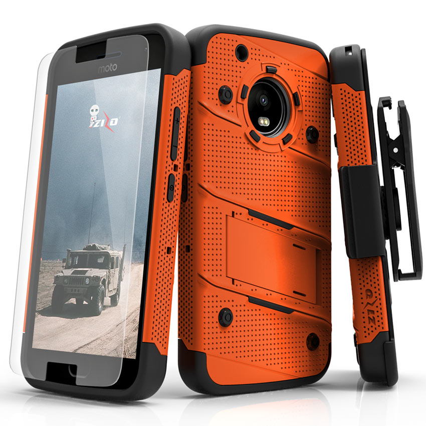 Made for [Motorola Moto G5 Plus]-Bolt Series: Heavy Duty Cover w/ Kickstand Holster Tempered Glass Screen Protector & Lanyard [Orange/ Black]