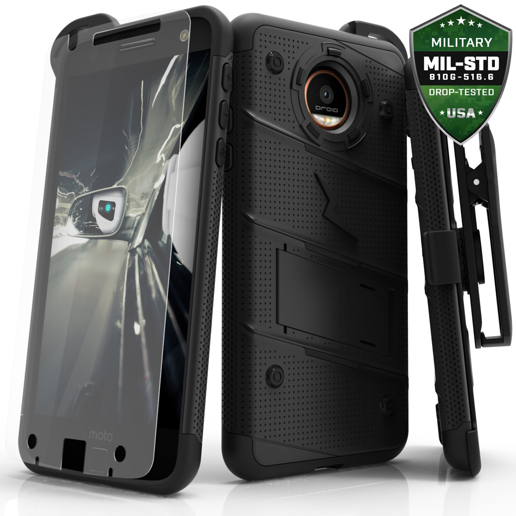 Motorola Moto Z Case - [BOLT] Heavy Duty Cover w/ Kickstand, Holster, Tempered Glass Screen Protector & Lanyard [Black]