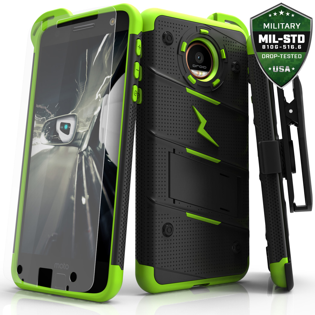 Motorola Moto Z Case - [BOLT] Heavy Duty Cover w/ Kickstand, Holster, Tempered Glass Screen Protector & Lanyard [Black/ Neon Green]