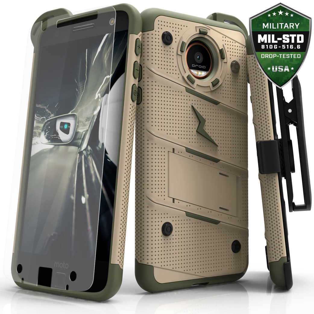 Made for [Motorola Moto Z]-Bolt Series: Heavy Duty Cover w/ Kickstand Holster Tempered Glass Screen Protector & Lanyard [Desert Tan/ Camo Green]