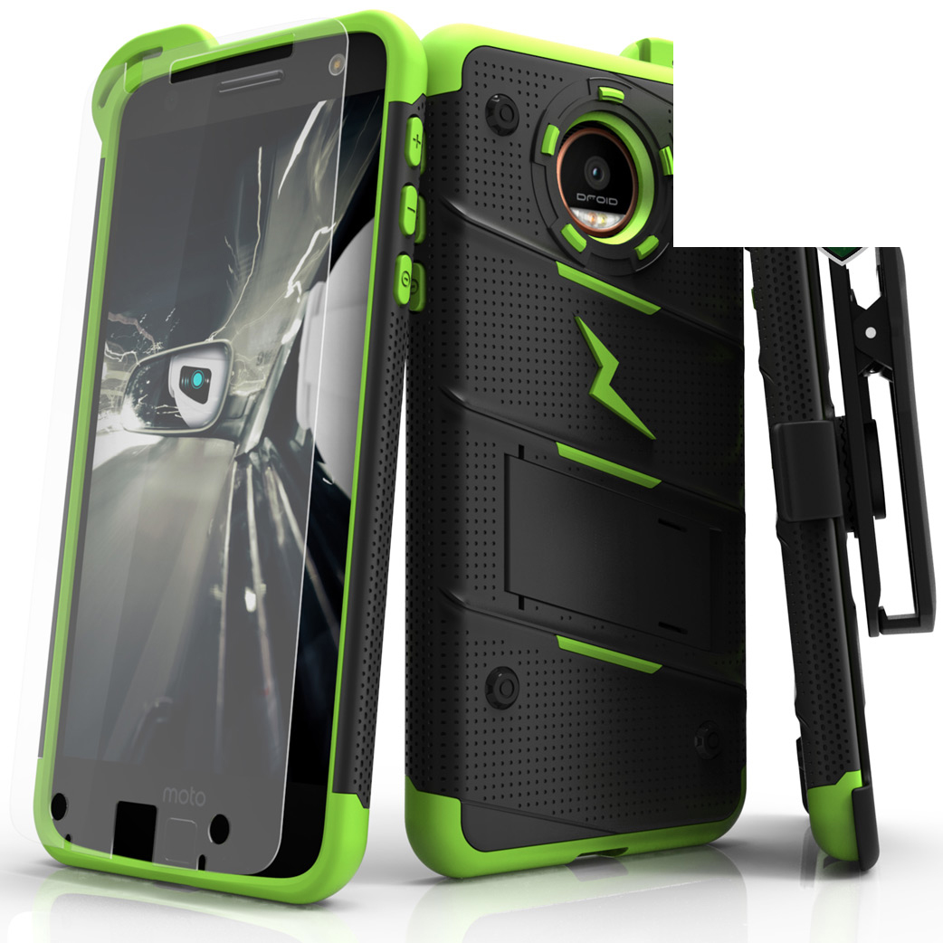 Made for [Motorola Moto Z Force]-Bolt Series: Heavy Duty Cover w/ Kickstand Holster Tempered Glass Screen Protector & Lanyard [Black/ Neon Green]