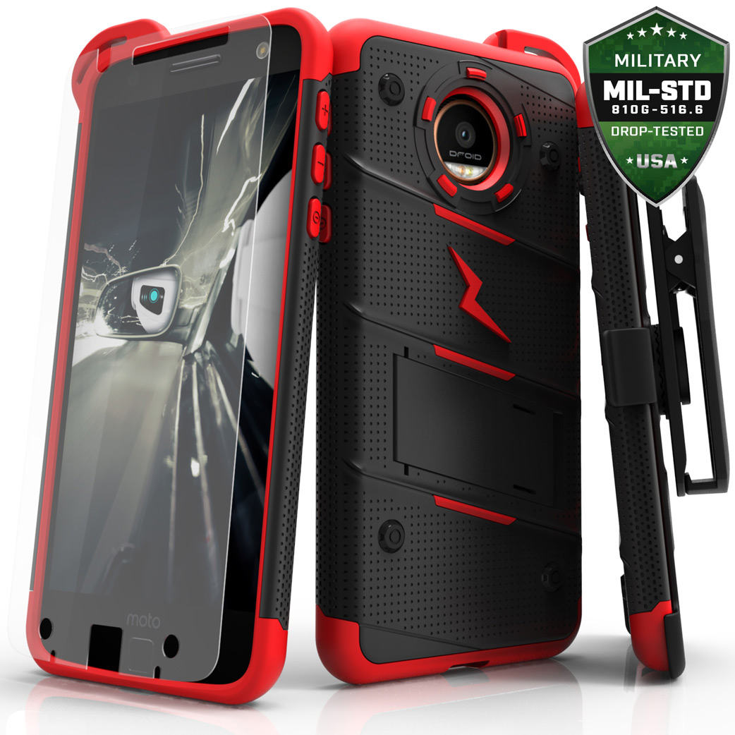 Made for [Motorola Moto Z Force]-Bolt Series: Heavy Duty Cover w/ Kickstand Holster Tempered Glass Screen Protector & Lanyard [Red/Black]