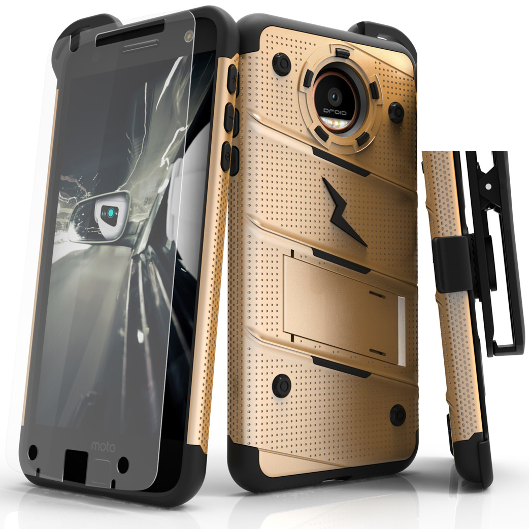 Made for [Motorola Moto Z Force]-Bolt Series: Heavy Duty Cover w/ Kickstand Holster Tempered Glass Screen Protector & Lanyard [Gold]