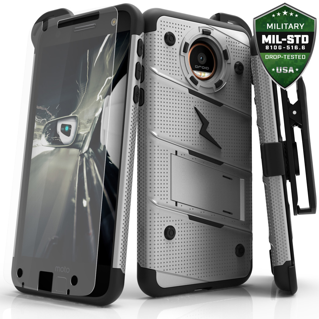Made for [Motorola Moto Z Force]-Bolt Series: Heavy Duty Cover w/ Kickstand Holster Tempered Glass Screen Protector & Lanyard [Gray]
