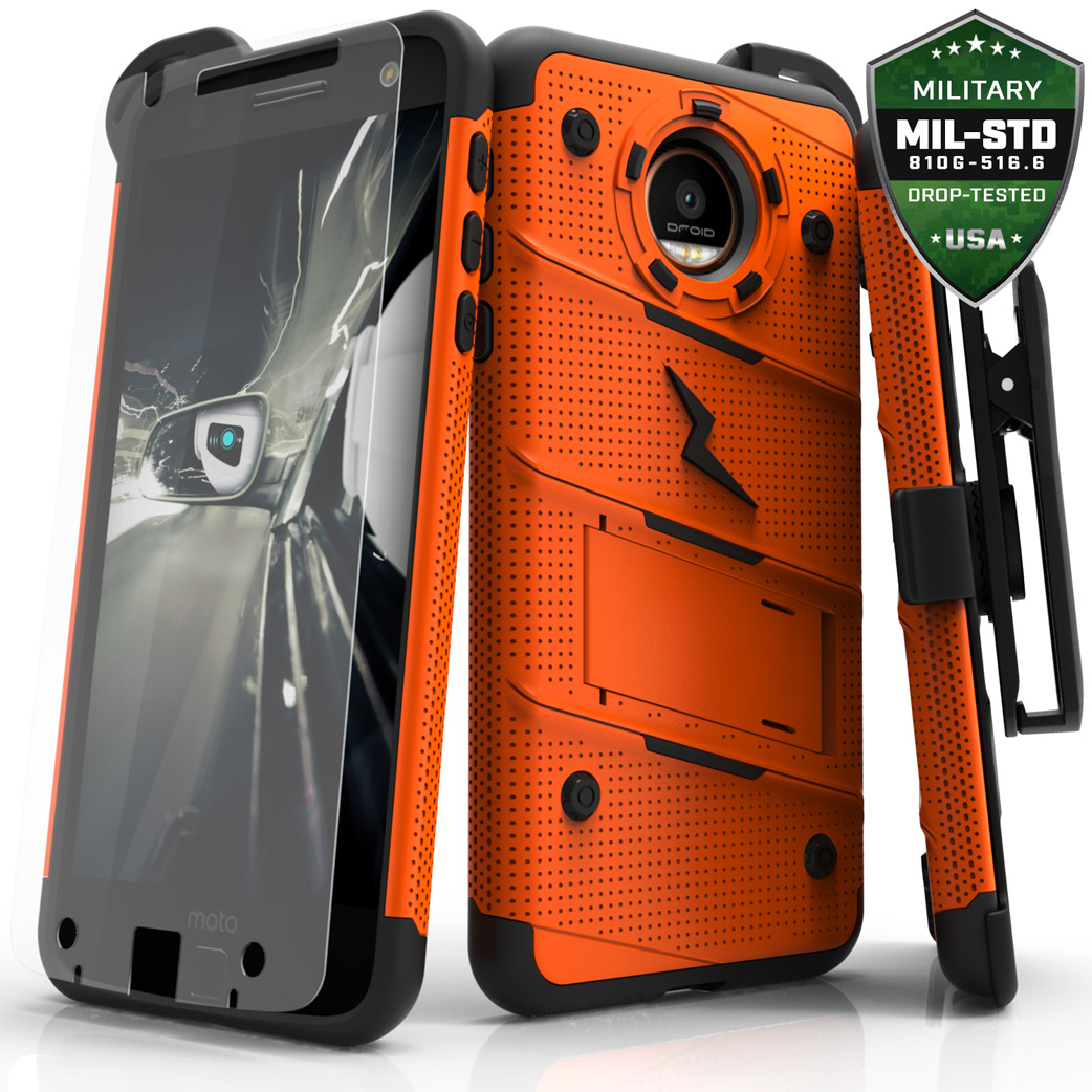 Made for [Motorola Moto Z Force]-Bolt Series: Heavy Duty Cover w/ Kickstand Holster Tempered Glass Screen Protector & Lanyard [Orange]