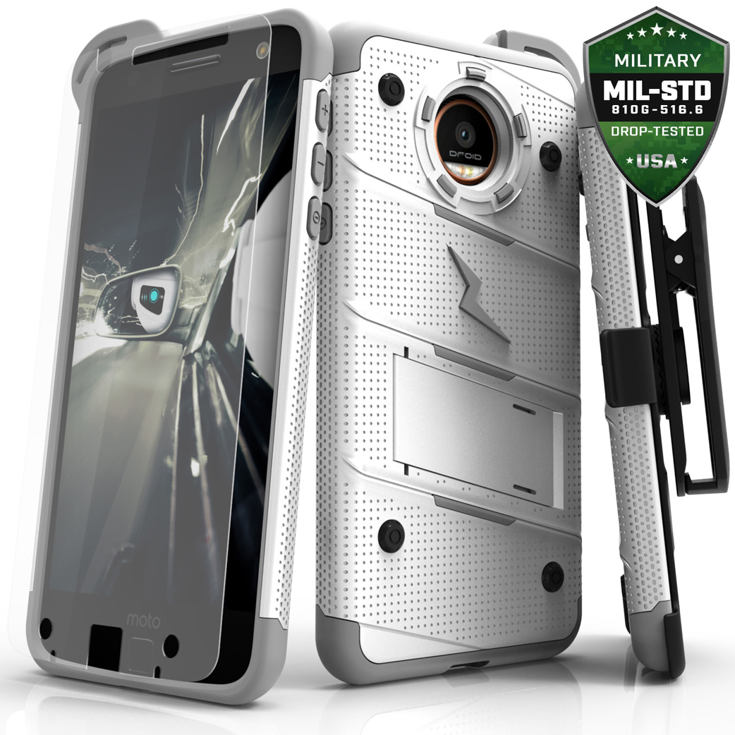 Made for [Motorola Moto Z Force]-Bolt Series: Heavy Duty Cover w/ Kickstand Holster Tempered Glass Screen Protector & Lanyard [White/ Gray]