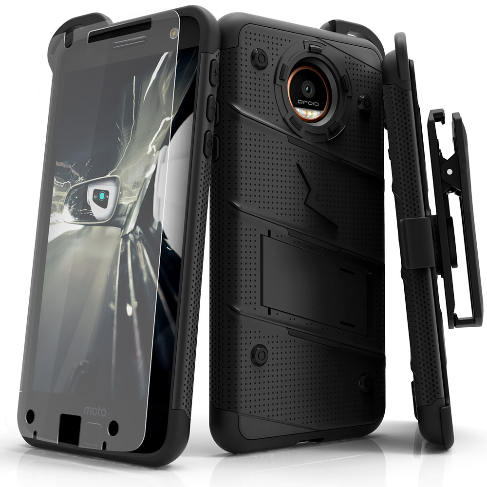 Made for [Motorola Moto Z2 Force / Moto Z2 Play]-Bolt Series: Heavy Duty Cover w/ Kickstand Holster Tempered Glass Screen Protector & Lanyard [Black]