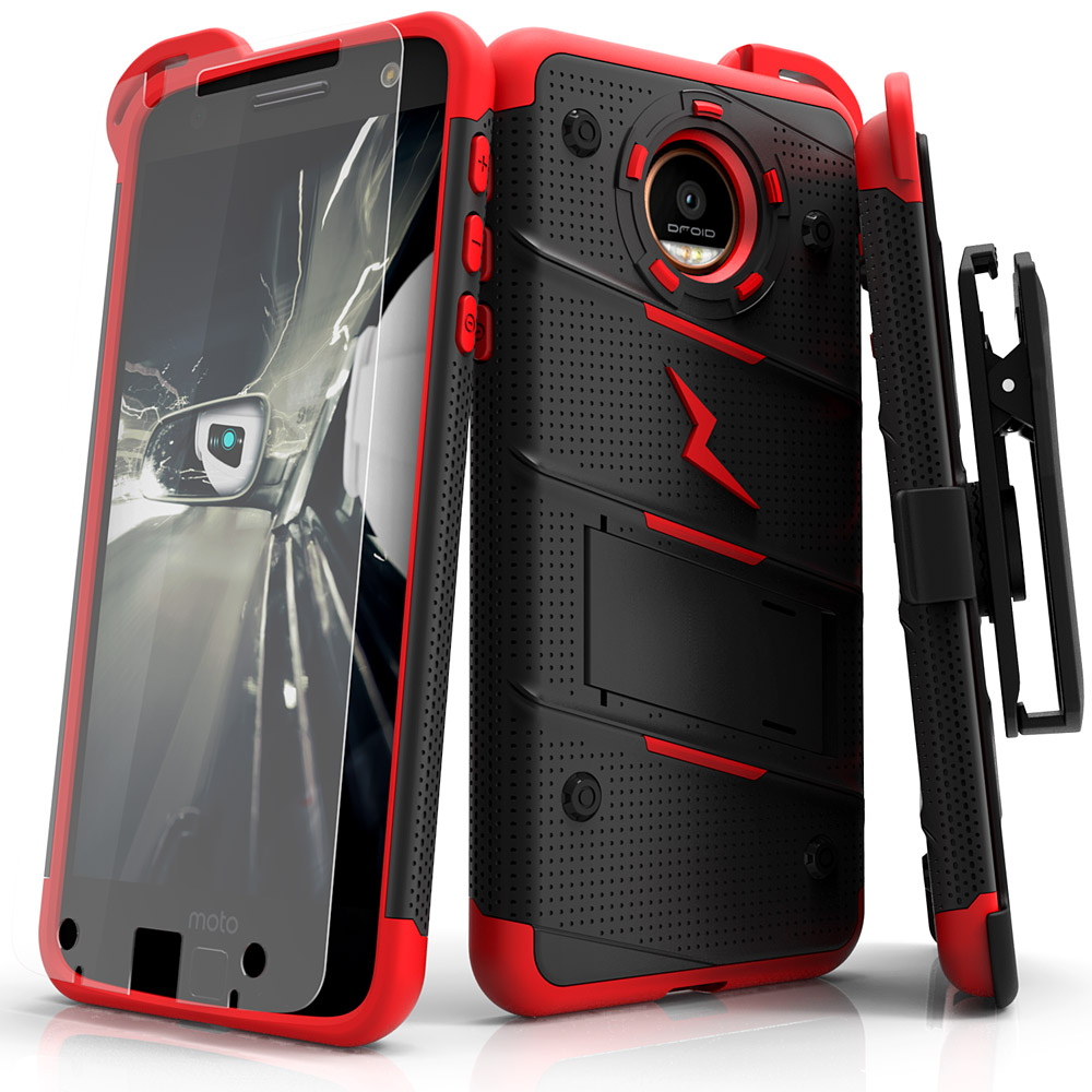 Made for [Motorola Moto Z2 Force / Moto Z2 Play]-Bolt Series: Heavy Duty Cover w/ Kickstand Holster Tempered Glass Screen Protector & Lanyard [Black/ Red]