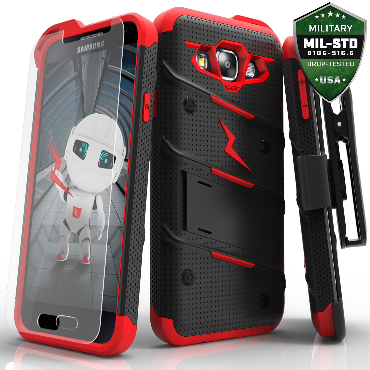 Made for [Samsung Galaxy On5]-Bolt Series: Heavy Duty Cover w/ Kickstand Holster Tempered Glass Screen Protector & Lanyard [Black/ Red]