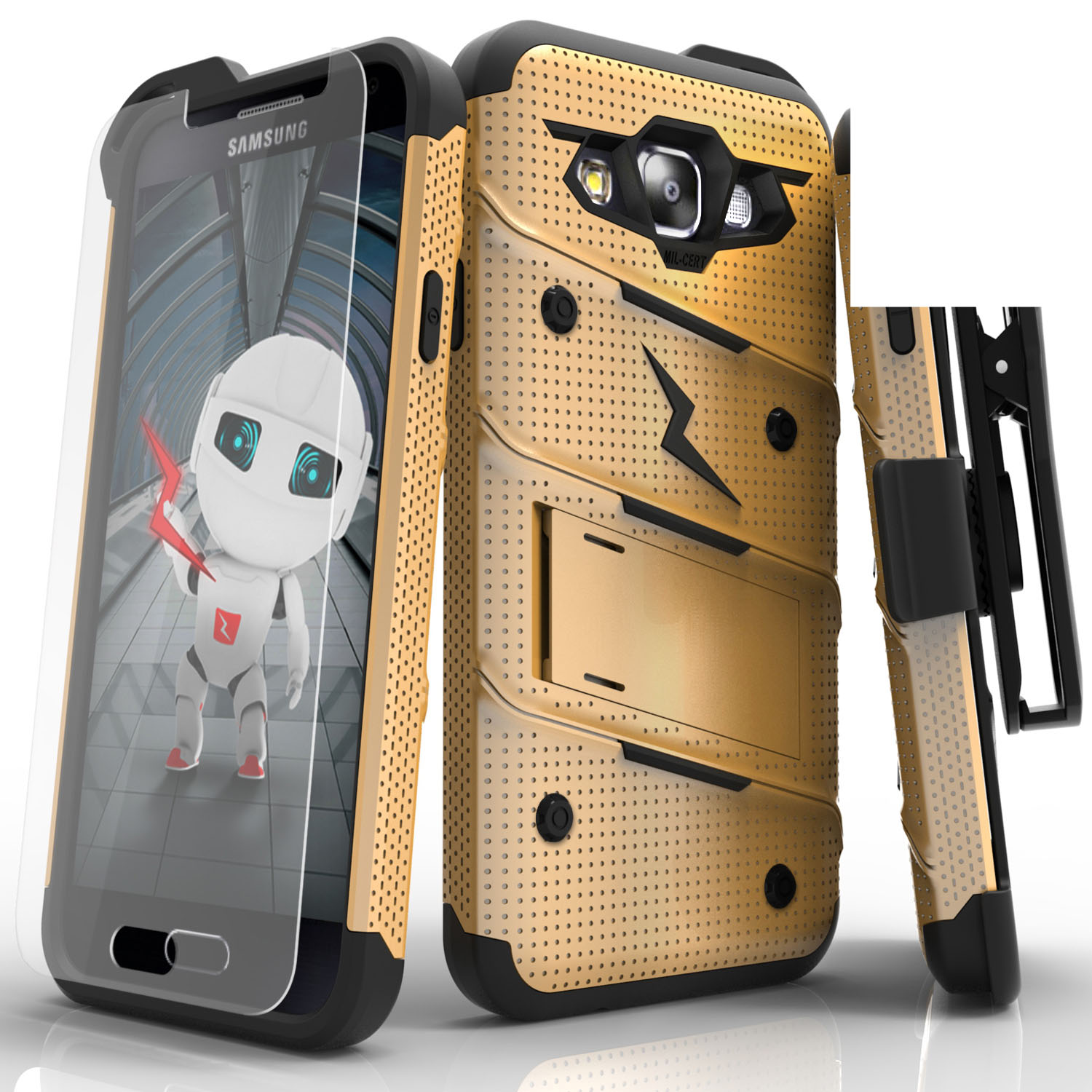 Made for [Samsung Galaxy On5]-Bolt Series: Heavy Duty Cover w/ Kickstand Holster Tempered Glass Screen Protector & Lanyard [Gold/ Black]