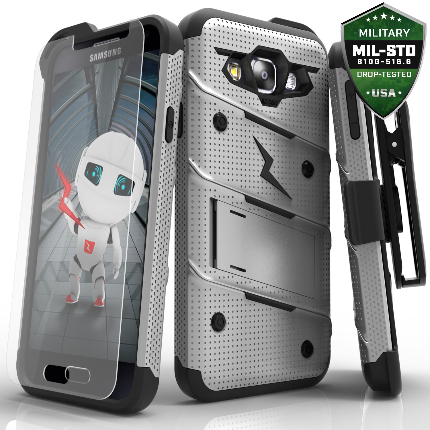 Made for [Samsung Galaxy On5]-Bolt Series: Heavy Duty Cover w/ Kickstand Holster Tempered Glass Screen Protector & Lanyard [Gray/ Black]