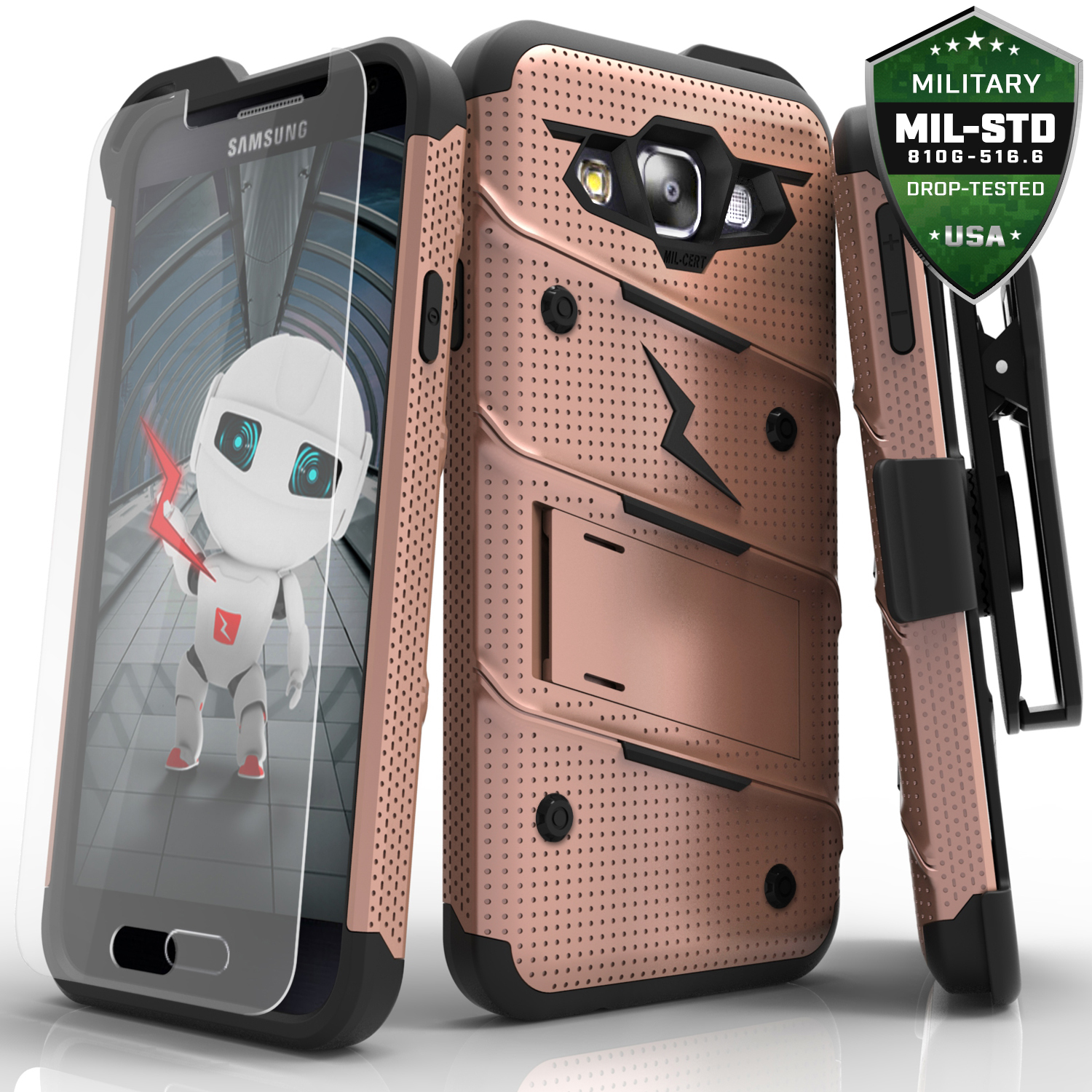 Samsung Galaxy On5 Case, [BOLT] Heavy Duty Cover w/ Kickstand, Holster, Tempered Glass Screen Protector & Lanyard [Rose Gold/ Black]