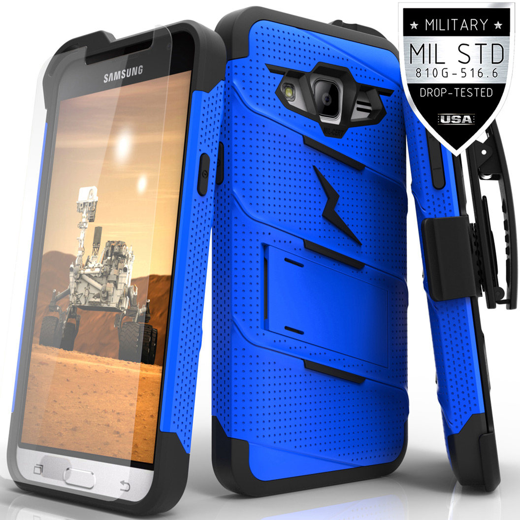 Made for [Samsung Galaxy J3/ Galaxy Express Prime/ Galaxy AMP Prime]-Bolt Series: Heavy Duty Cover w/ Kickstand Holster Tempered Glass Screen Protector & Lanyard [Blue/ Black]