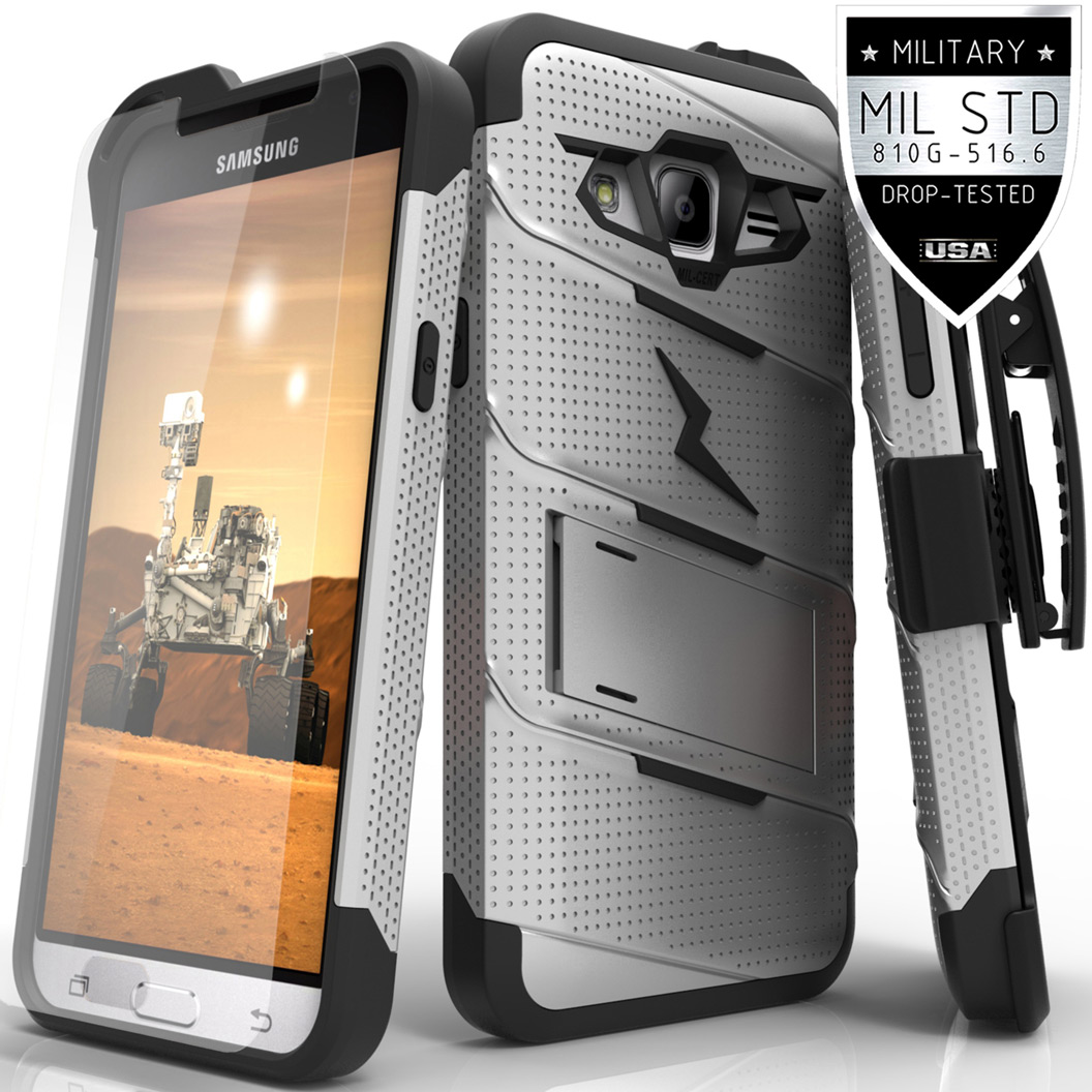 Made for [Samsung Galaxy J3/ Galaxy Express Prime/ Galaxy AMP Prime]-Bolt Series: Heavy Duty Cover w/ Kickstand Holster Tempered Glass Screen Protector & Lanyard [Gray/ Black]