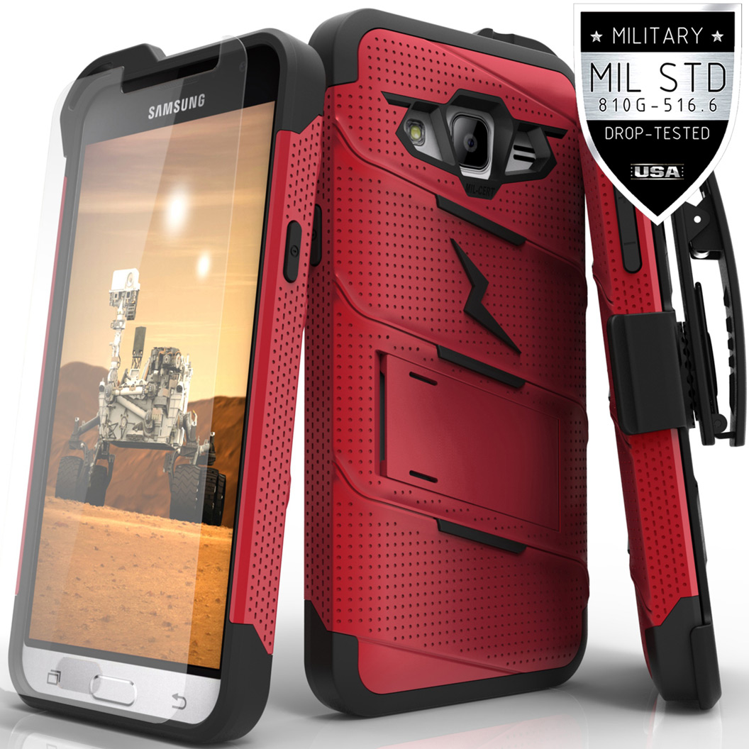 Made for [Samsung Galaxy J3/ Galaxy Express Prime/ Galaxy AMP Prime]-Bolt Series: Heavy Duty Cover w/ Kickstand Holster Tempered Glass Screen Protector & Lanyard [Red/ Black]