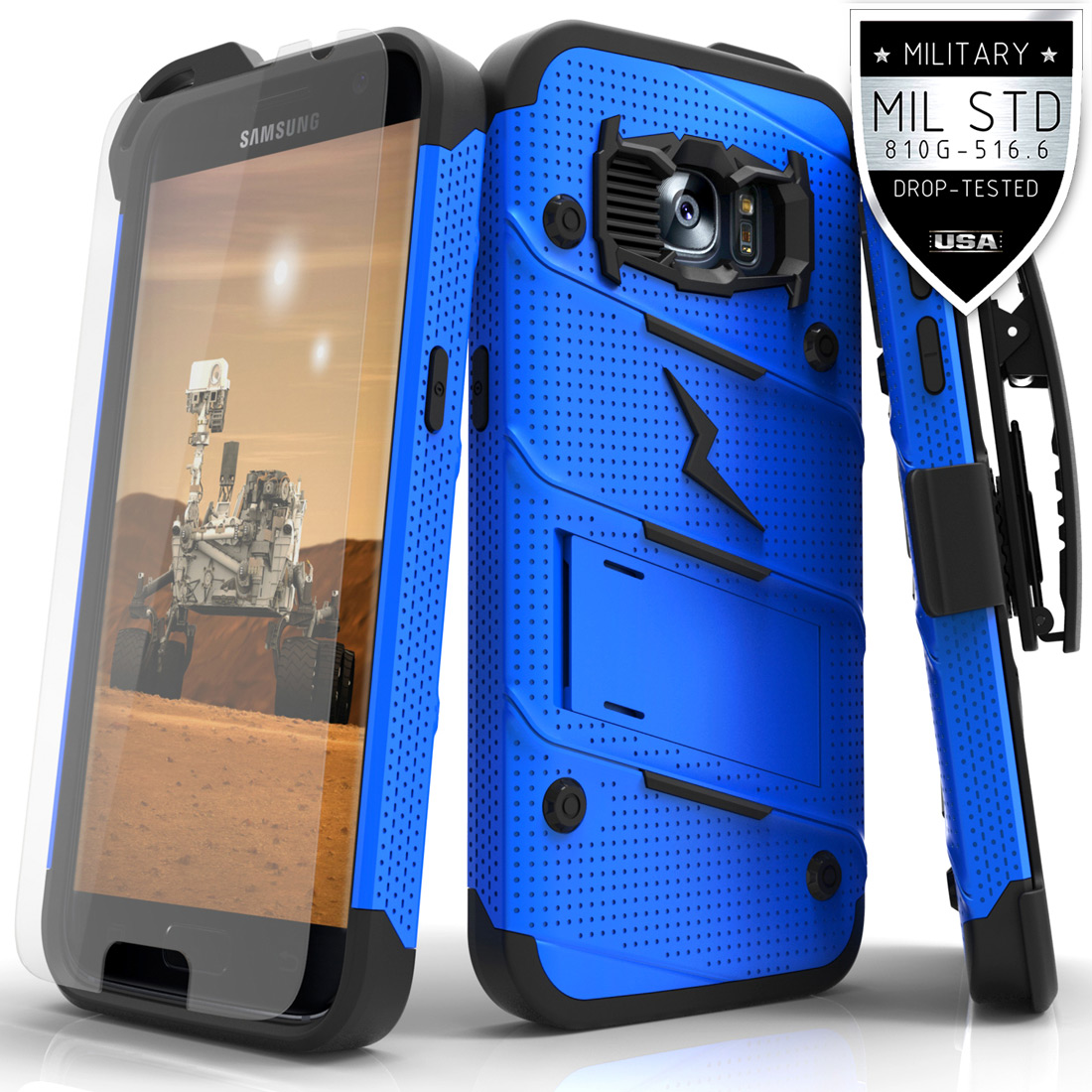 Made for [Samsung Galaxy S7]-Bolt Series: Heavy Duty Cover w/ Kickstand Holster Tempered Glass Screen Protector & Lanyard [Blue/ Black]