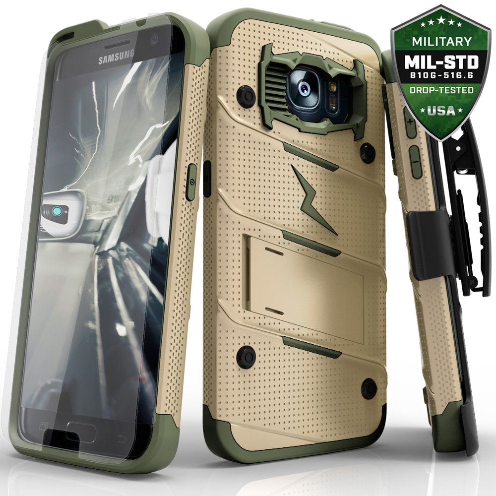 Made for [Samsung Galaxy S7]-Bolt Series: Heavy Duty Cover w/ Kickstand Holster Tempered Glass Screen Protector & Lanyard [Desert Tan/ Camo Green]