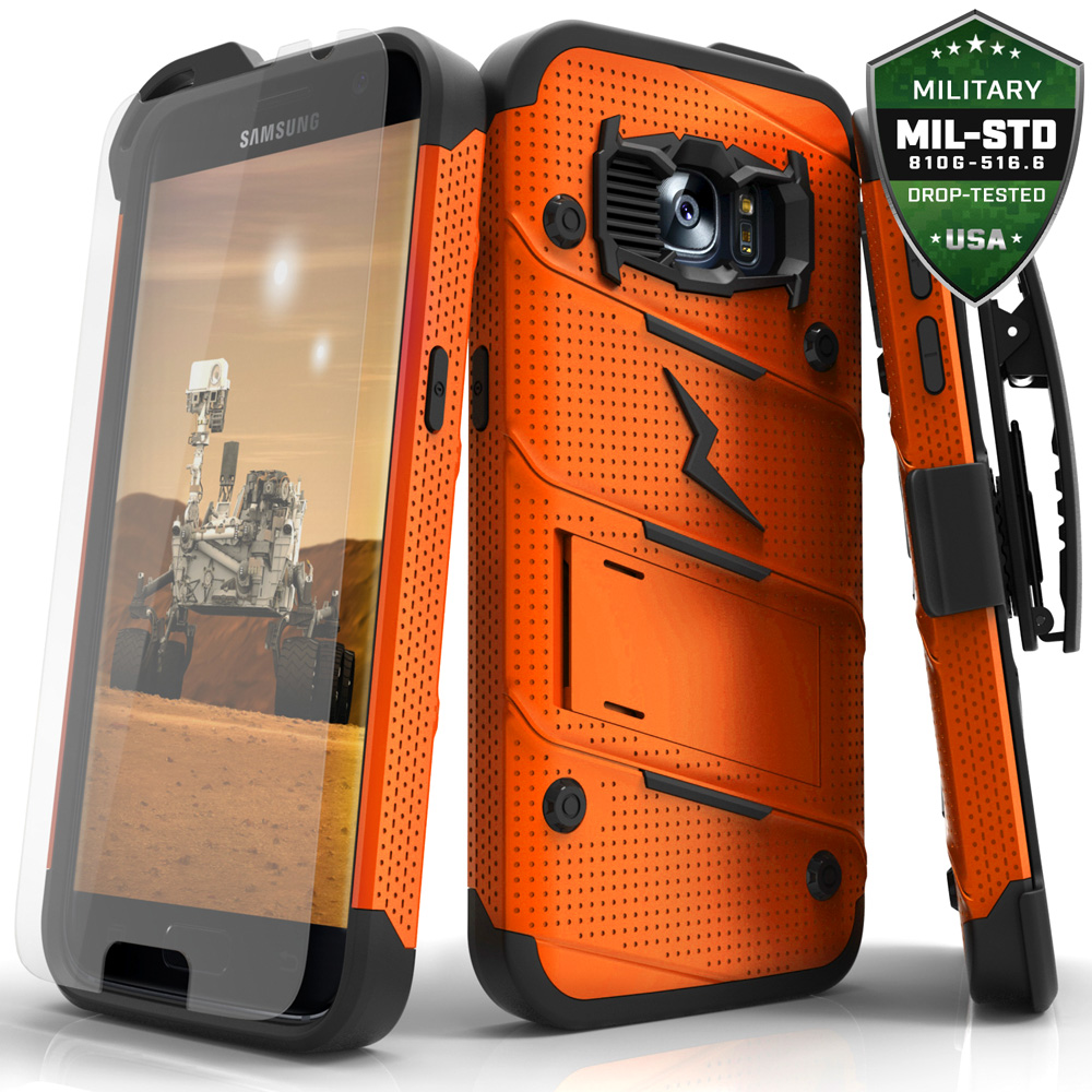 Made for [Samsung Galaxy S7]-Bolt Series: Heavy Duty Cover w/ Kickstand Holster Tempered Glass Screen Protector & Lanyard [Orange/ Black]