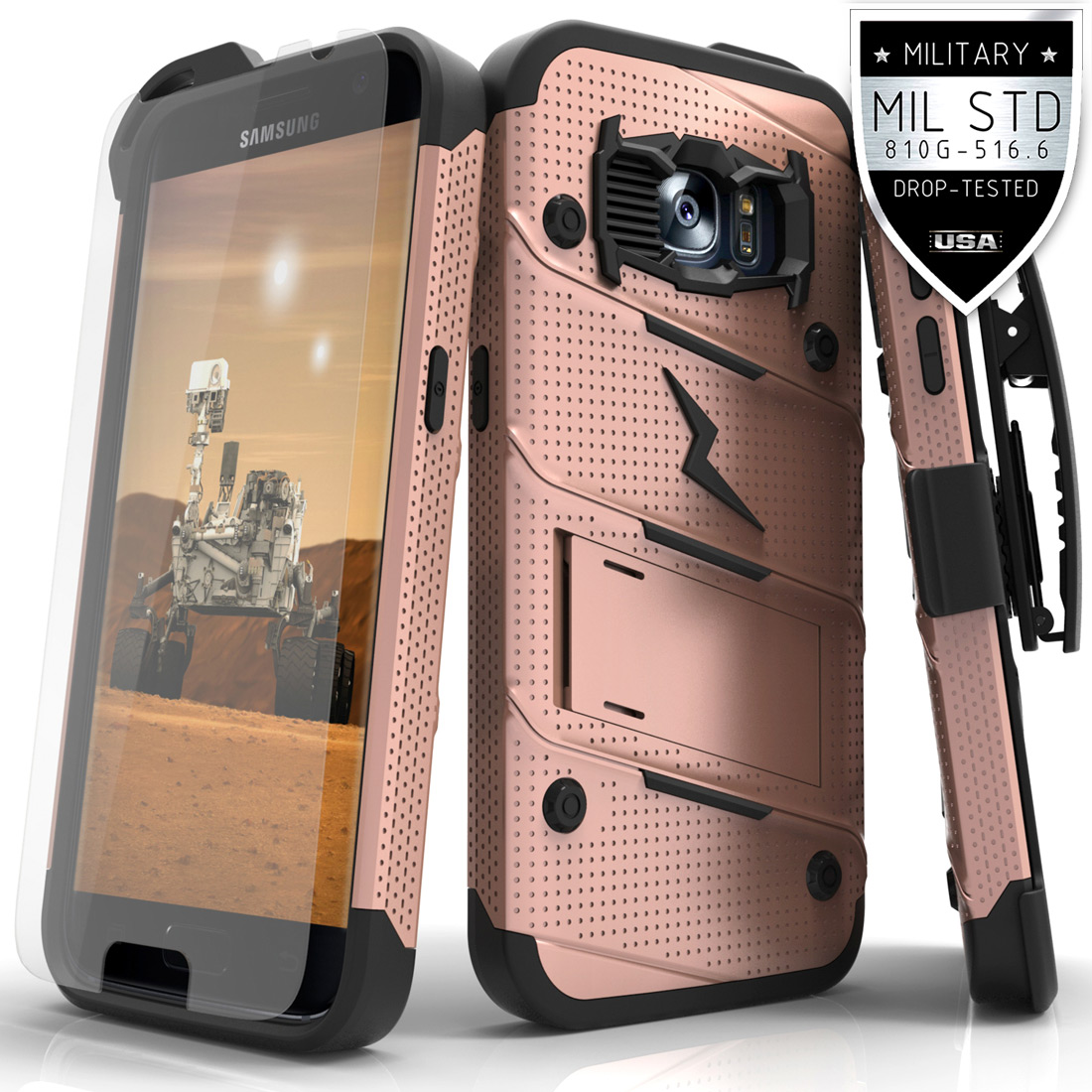Made for [Samsung Galaxy S7]-Bolt Series: Heavy Duty Cover w/ Kickstand Holster Tempered Glass Screen Protector & Lanyard [Rose Gold]