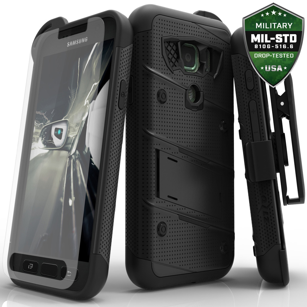 Samsung Galaxy S7 Active Case - [BOLT] Heavy Duty Cover w/ Kickstand, Holster, Tempered Glass Screen Protector & Lanyard [Black]