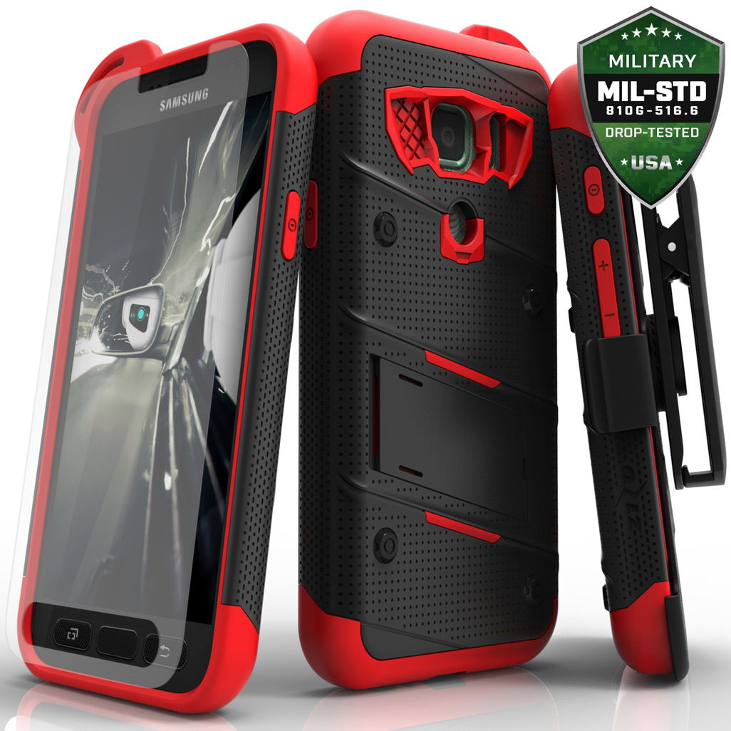 Made for [Samsung Galaxy S7 Active Case (Will NOT fit Samsung Galaxy S7)]-Bolt Series: Heavy Duty Cover w/ Kickstand Holster Tempered Glass Screen Protector & Lanyard [Black/ Red]