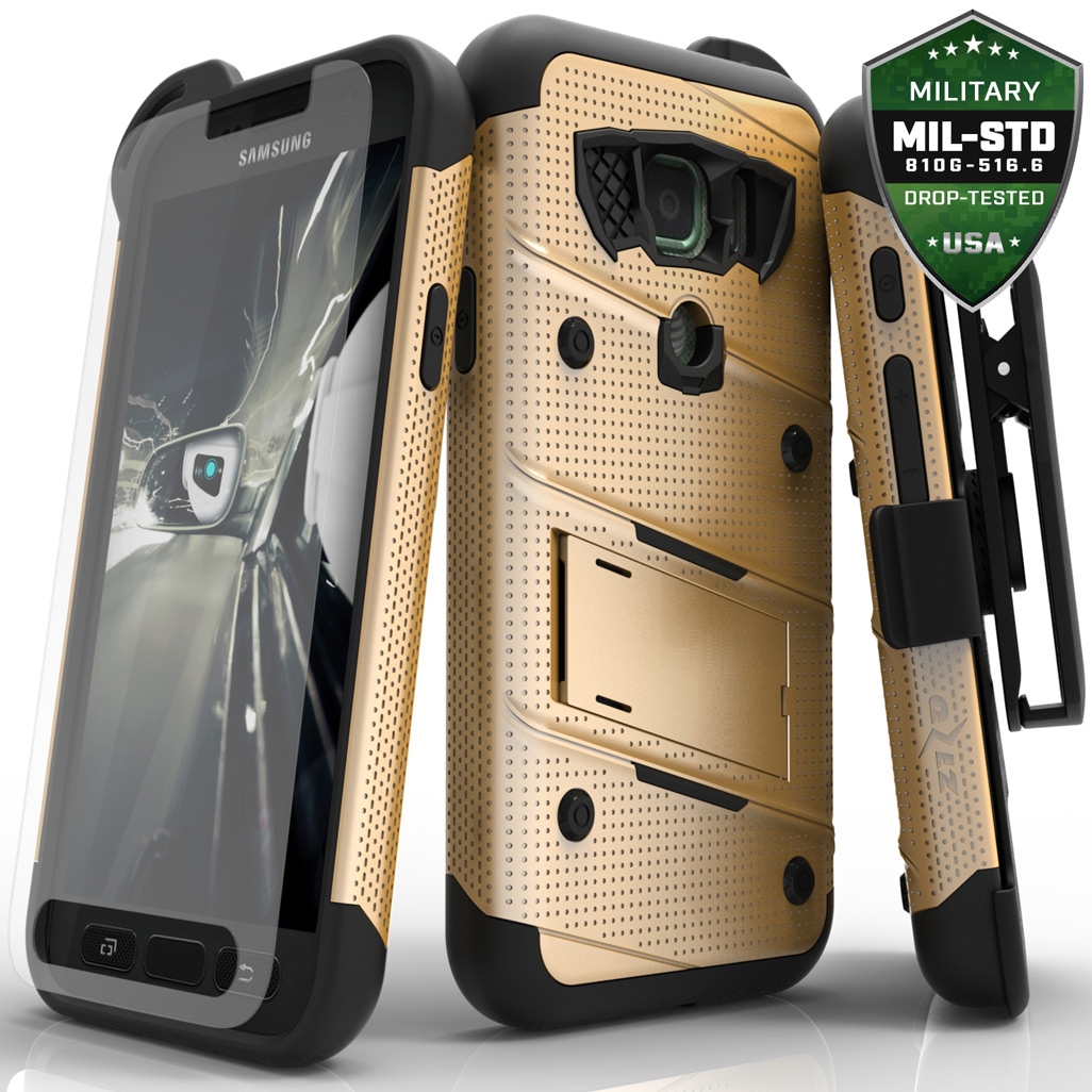 Samsung Galaxy S7 Active Case - [BOLT] Heavy Duty Cover w/ Kickstand, Holster, Tempered Glass Screen Protector & Lanyard [Gold/ Black]