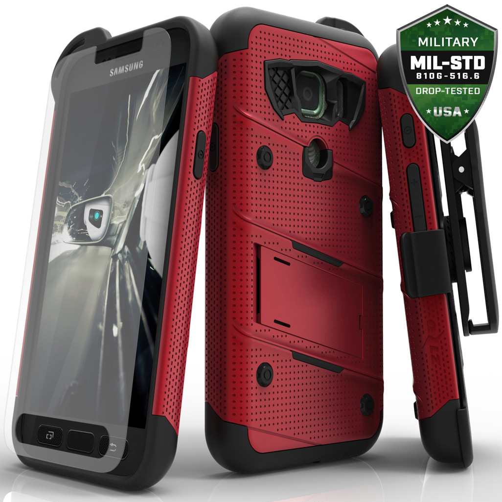 Samsung Galaxy S7 Active Case - [BOLT] Heavy Duty Cover w/ Kickstand, Holster, Tempered Glass Screen Protector & Lanyard [Red/ Black]