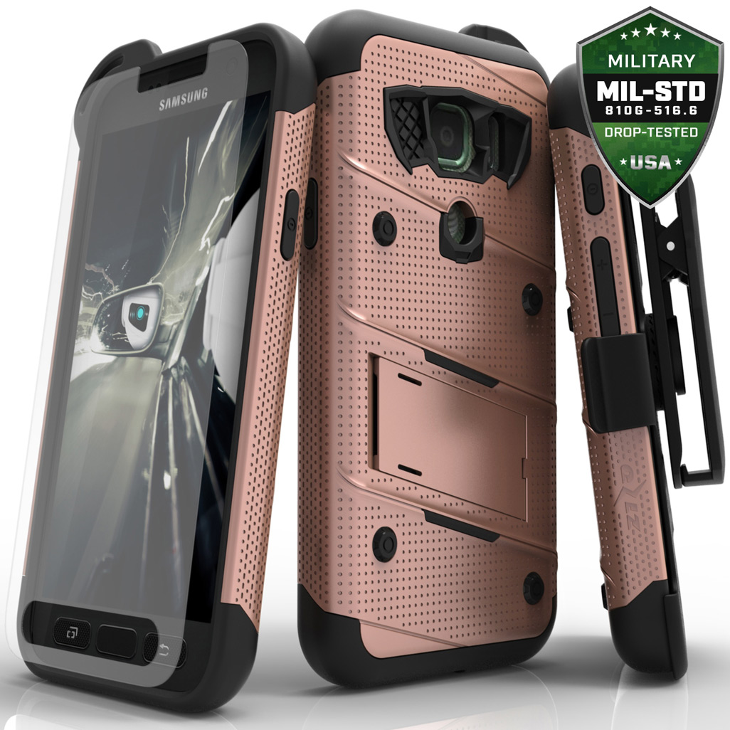 Made for [Samsung Galaxy S7 Active Case (Will NOT fit Samsung Galaxy S7)]-Bolt Series: Heavy Duty Cover w/ Kickstand Holster Tempered Glass Screen Protector & Lanyard [Rose Gold/ Black]