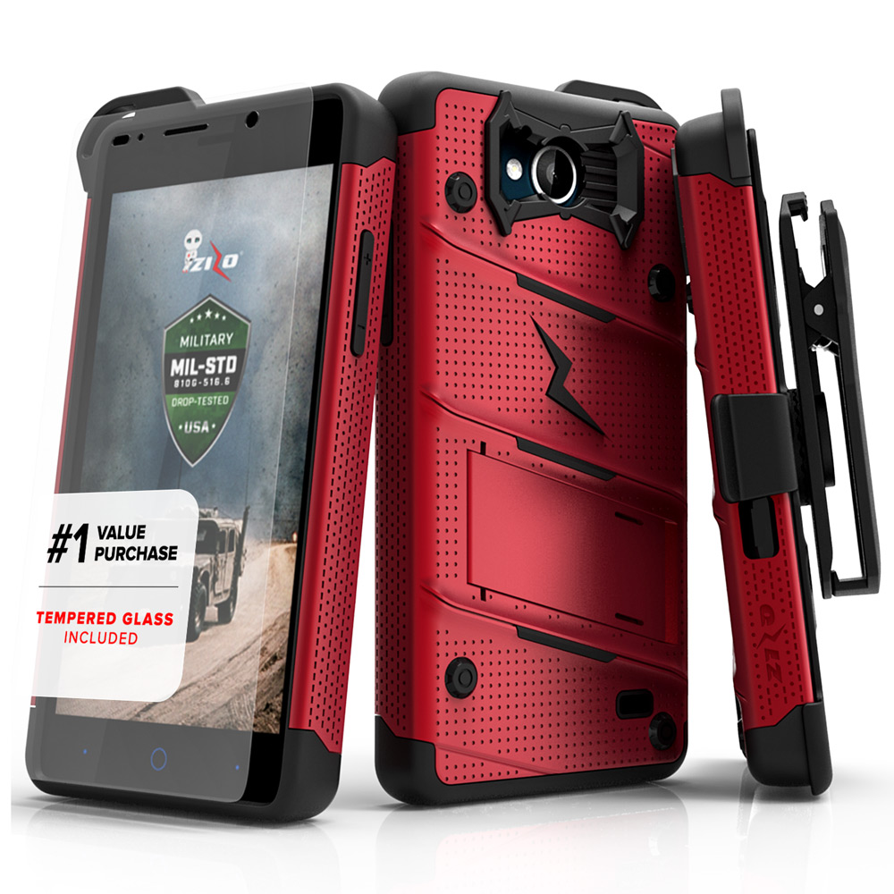 Made for [ZTE Tempo]-Bolt Series: Heavy Duty Cover w/ Kickstand Holster Tempered Glass Screen Protector & Lanyard [Red/ Black]