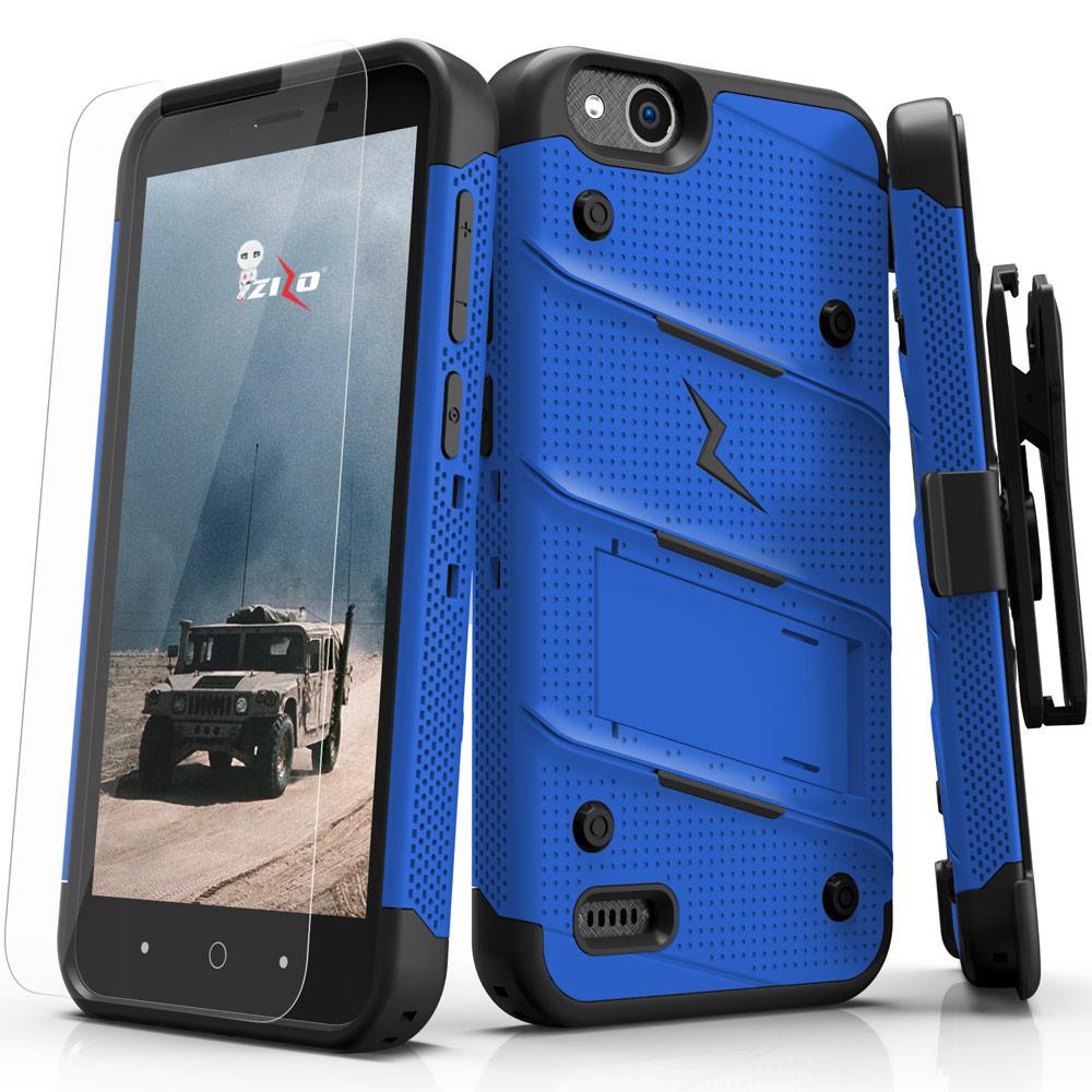 Made for [ZTE Tempo X/ Avid 4]-Bolt Series: Heavy Duty Cover w/ Kickstand Holster Tempered Glass Screen Protector & Lanyard [Blue/ Black]