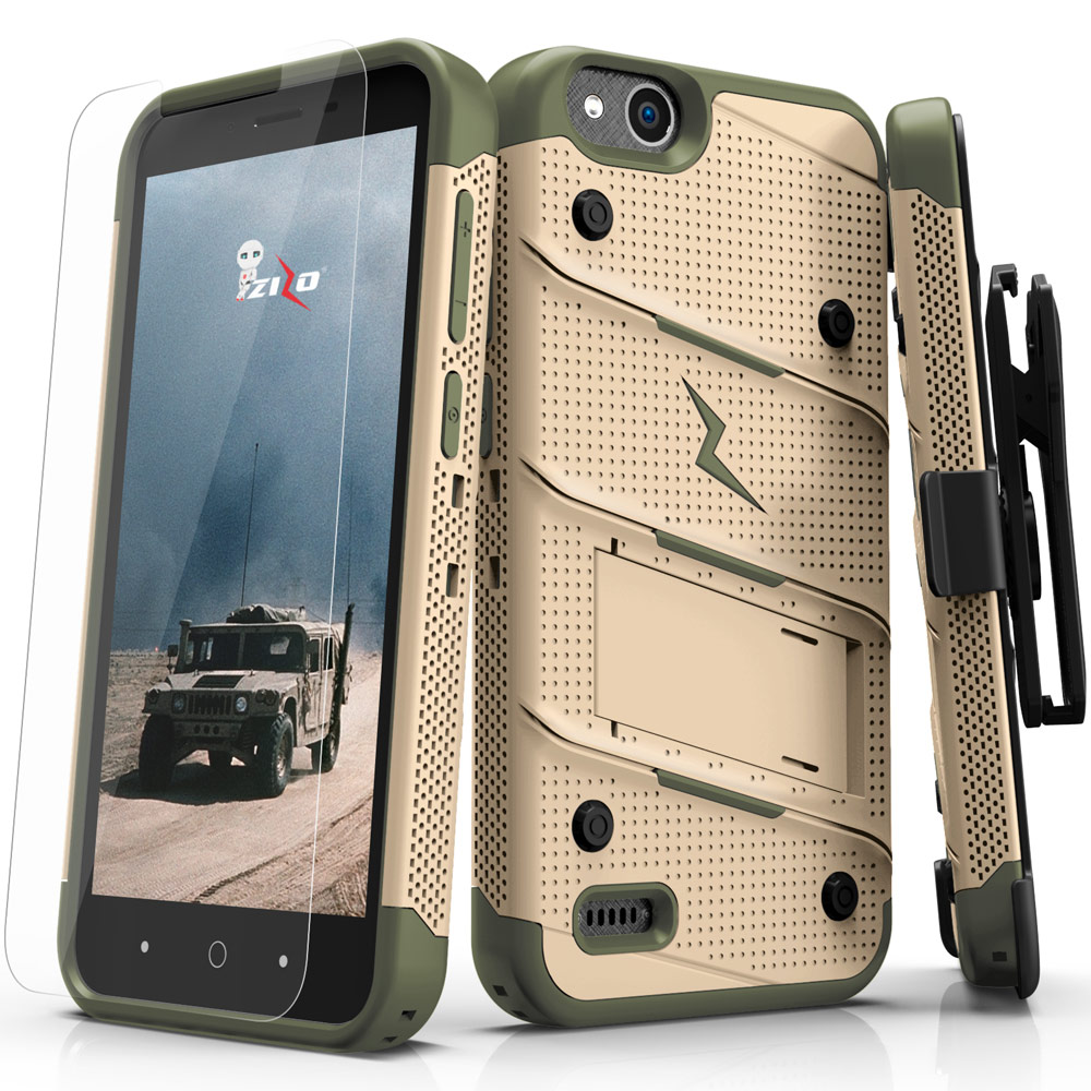 Made for [ZTE Tempo X/ Avid 4]-Bolt Series: Heavy Duty Cover w/ Kickstand Holster Tempered Glass Screen Protector & Lanyard [Desert Tan/ Camo Green]